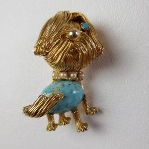 Vintage Jelly Belly Wired Haired Shaggy Dog Brooch